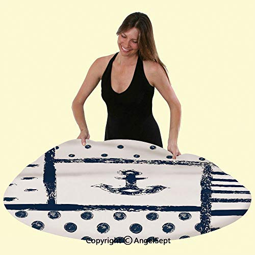 Elastic Edged Round Table Cover Tablecloth,Grunge Murk Boat Anchor Silhouette with Polka and Stripe Retro Patterns Navy Theme Anti-Skid & Water Proof, Fits Tables Up to 48 inch Diameter,Dark Blue
