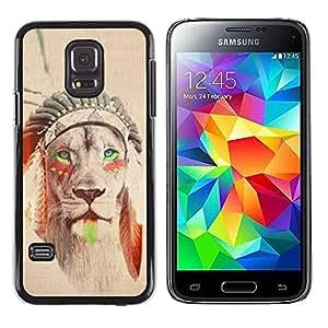 TopCaseStore / la caja del caucho duro de la cubierta de protección de la piel - American Indian Sepia Feather - Samsung Galaxy S5 Mini, SM-G800, NOT S5 REGULAR!