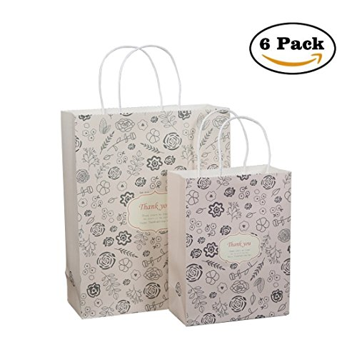 Gift Bags Kraft Paper Present Exchange Wrapping Packaging Treat Bags 9.8''x3.9''x12.4'' 6 Pcs by In kds