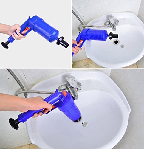 High Pressure Air Power Drain Blaster gun,PERTTY Cleaner Unclogs Toilet Pump Hand Powered Plunger Set for Bath Toilets, Bathroom, Shower, kitchen Clogged Pipe Bathtub(Blue) by PERTTY (Image #6)