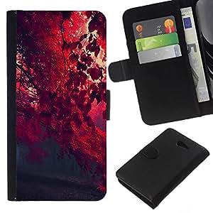 All Phone Most Case / Oferta Especial Cáscara Funda de cuero Monedero Cubierta de proteccion Caso / Wallet Case for Sony Xperia M2 // Red Autumn