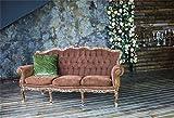 Laeacco Indoor Wedding Theme Backdrop 10x6.5ft Vinyl Shabby Brown Velvet Sofa Green Cushion Grunge Mottled Wall Floral Door Candlesticks Photography Background Bride Groom Portrait Shoot