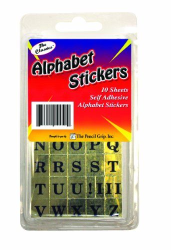 Pencil Grip The Classics Self-Adhesive Alphabet Stickers, Black/Gold, 10 Sheets per Box, 6 Boxes per Pack (TPG-45006) by The Pencil Grip