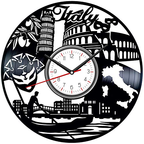 Italy Black Vinyl Clock - Vintage Room Kitchen Bedroom Decor - Vinyl Record Gift Idea for Birthday Christmas Hanukkah - Unique Vintage Wall Art - Personalized Home Decoration - 12 Inch -