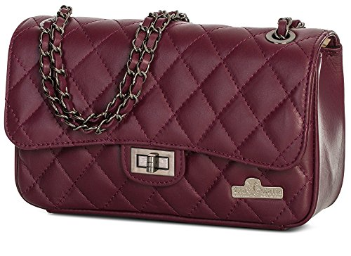 Party Medium Italian LIATALIA Leather Genuine CAROL Burgundy Bag Evening Ladies Clutch Quilted Purse Womens xgwq8rgnp7