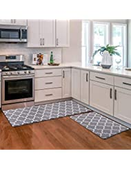 KMAT Kitchen Mat [2 PCS] Cushioned Anti-Fatigue Kitchen Rug, Waterproof Non-Slip Kitchen Mats and Rugs Heavy Duty PVC Ergonomic Comfort Foam Rug for Kitchen, Floor Home, Office, Sink, Laundry