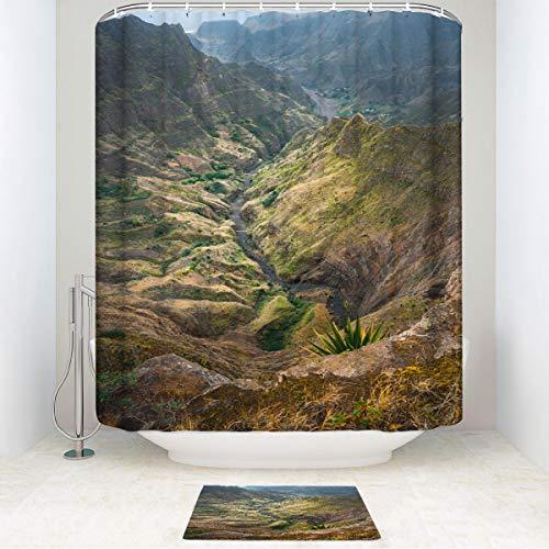 HooMore Family Bathroom Set, Breathtaking View from Delgadinho Mountain Ridge Santo Antao Cape Verde, Waterproof Shower Curtain and Non-Slip Bathroom Rug 54WX78Lin/19.6X31.4in ()