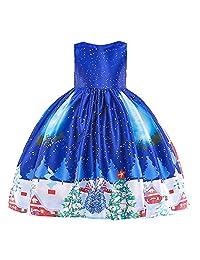 Toddler Girls Christmas Costume Dress Santa Print Princess Party Dress