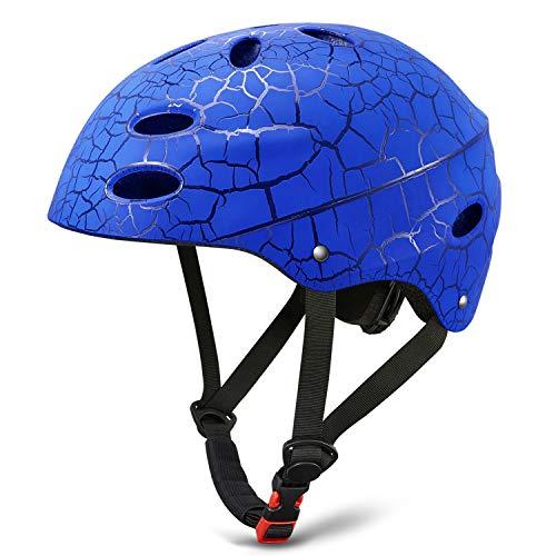 - KUYOU Skate Helmet Adjust Size Multi-Impact ABS Shell for Kid Cycling/Skateboarding/Skate Inline Skating/Rollerblading (Blue)