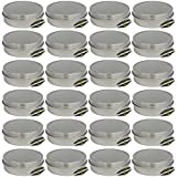 24 Pack of Mighty Gadget (R) Screw Top Round Steel Tin Cans (2 oz)
