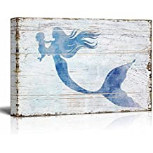 "wall26 Canvas Wall Art - Mother Mermaid Holding Baby Mermaid | Maternal Love Ocean Theme Rustic Country Style Creative Mother's Day Gift - 18"" x 12"""