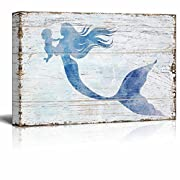 wall26 Canvas Wall Art - Mother Mermaid Holding Baby Mermaid | Maternal Love Ocean Theme Rustic Country Style Modern Giclee Print Gallery Wrap Home Decor - 24  x 16