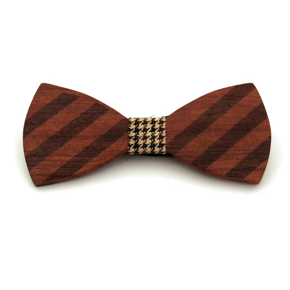 Dig Dog Bone Stripe Personality Generous Wooden Clip Tie Men Wooden Bow Tie Bow Tie Mens and Womens