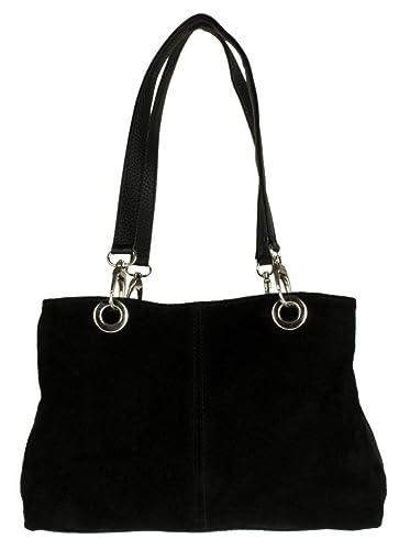 401e0d8c1b SALE SALE Womens Small Twin Top Multi Zip Pockets Italian Suede Leather  Shoulder Bag (Balck