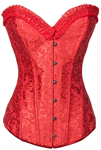 Alivila.Y Fashion Flower Tapestry Steel Boned Corset 2615-Red-M