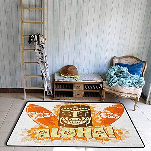 - Large Door mat,Tiki Bar Hibiscus Flora Burst Orange Surfboards Aloha Tropical Summer Season,Rustic Home Decor,3'11
