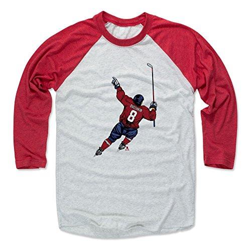 500 LEVEL Alex Ovechkin Baseball Tee Shirt XX-Large Red/Ash - Washington Hockey Raglan Shirt - Alex Ovechkin Celebration R (Hockey Ash T-shirt)
