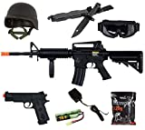 Shop-4-Airsoft Lancer Tactical SOPMOD M4 AEG METAL GEAR Gun & V8 GEAR PACKAGE