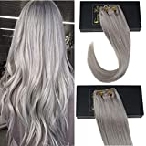 Sunny Grey Clip in Hair Extensions Remy Hair 14 inch Clip in Grey Human Hair Double Weft Color #Grey Clip on Hair Extensions Real Hair Full Head Set 7PCS 120G