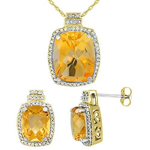 Jewellery World Bague en or jaune 9carats Diamant naturel octogone Citrine Boucles d'oreilles et pendentif de coussin Accents