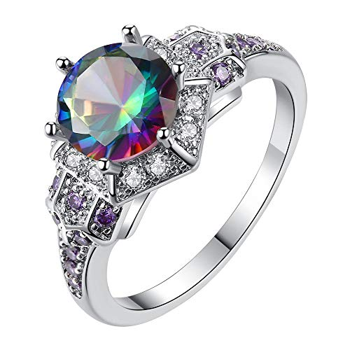 n,Fashion Luxury Floral Transparent Diamond Crystal Rings Woman Jewelry for Party ()