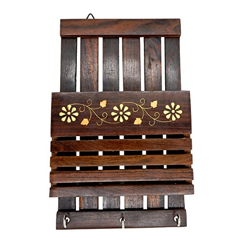 Khandekar (with device of K) Handmade Wooden Rectangle Wall Mounted Key Holder with Strip Design Wall hangers For Key - 9 Inch (Simply Design Originals Strips)