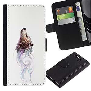 Sony Xperia Z1 Compact / Z1 Mini / D5503 , la tarjeta de Crédito Slots PU Funda de cuero Monedero caso cubierta de piel ( Wolf Wild Dog Watercolor Painting Art Forest)