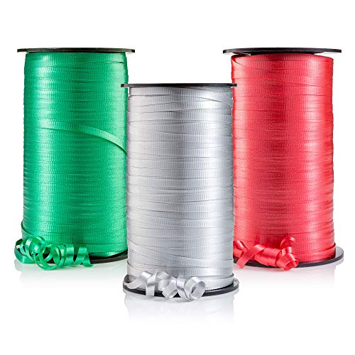 Curling Ribbon, Holiday Christmas Crimped Ribbons, 3 Holiday Colors, Red, Emerald Green, Silver – 3/16-Inch Wide by 500-Yard Spools – for Florist, Christmas Gift Wrapping, Crafts and More
