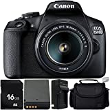 Canon EOS 1500D/Rebel T7 w/ 18-55mm Lens and 5pc Accessory Bundle - Includes 16GB SD Memory Card + Replacement Battery + Medium Carrying Case + MORE - International Version (No Warranty)