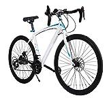 """26"""" 700C Road Bike, Cheesea 21 Speed Steel Fixed Gear White and Blue Mountain Bike cheesea"""