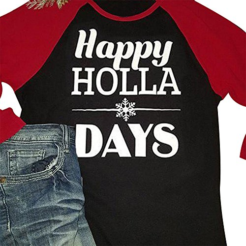 Vin beauty wlgreatsp Femmes Halloween Happy Holla Days Baseball Casual Soft Confortable Manche Longue T-Shirt Blouse Supérieure