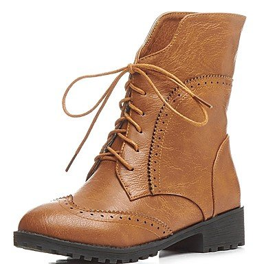 RTRY Women's Shoes PU Leatherette Fall Winter Comfort Novelty Bootie Boots Walking Shoes Chunky Heel Round Toe Booties/Ankle Boots Lace-up For US4-4.5 / EU34 / UK2-2.5 / CN33 RjR2lMXboC