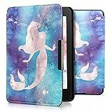 kwmobile Case for Amazon Kindle Paperwhite - Book Style PU Leather Protective e-Reader Cover Folio Case - white blue