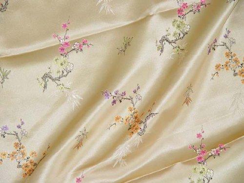 Chinese Brocade Satin Fabric (Cherry Blossom & Bamboo)