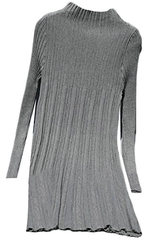 Knit A Sweater Sleeve Grey Solid Long Line Pleated Flare Womens Cruiize Slim RxvfnzY