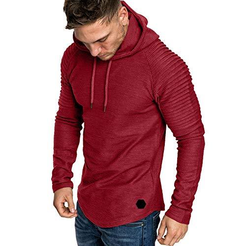 MILIMIEYIK Mens Sweatshirt, Men's Autumn Long Sleeve Plaid Hoodie Hooded Sweatshirt Outwear Top Blouse Red ()