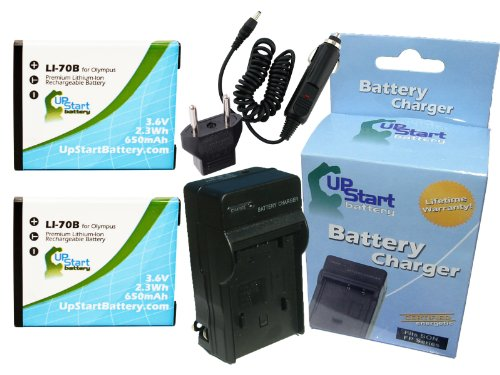 2x Pack - Olympus D-705 Battery + Charger with Car & EU Adapters - Replacement for Olympus LI-70B Digital Camera Battery and Charger (650mAh, 3.6V, -