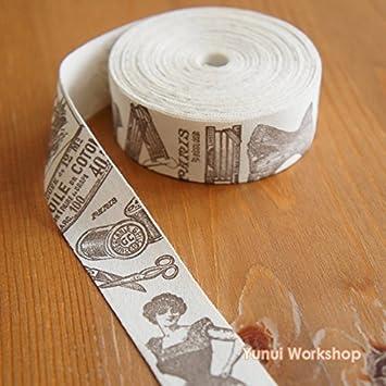2 metros/10 metros: algodón tela cinta retro estilo 25 mm marrón Lady Europea y envejecido etiqueta de motivos de costura Scrapbook manualidades DIY: Amazon.es: Juguetes y juegos