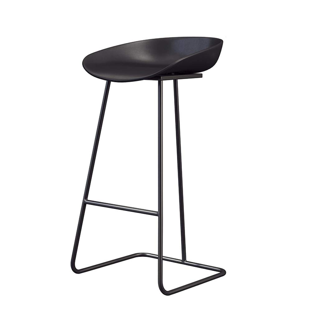 65cm Bar Chairs Counter High Footrest Stools Kitchen Breakfast Dining Chair Modern Furniture   Black PP Seat and Metal Legs