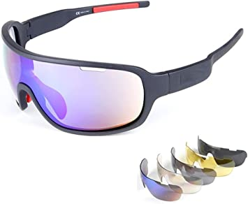 Polarized Cycling Sunglasses with 5 Lenses Driving Sports UV Protection Glasses