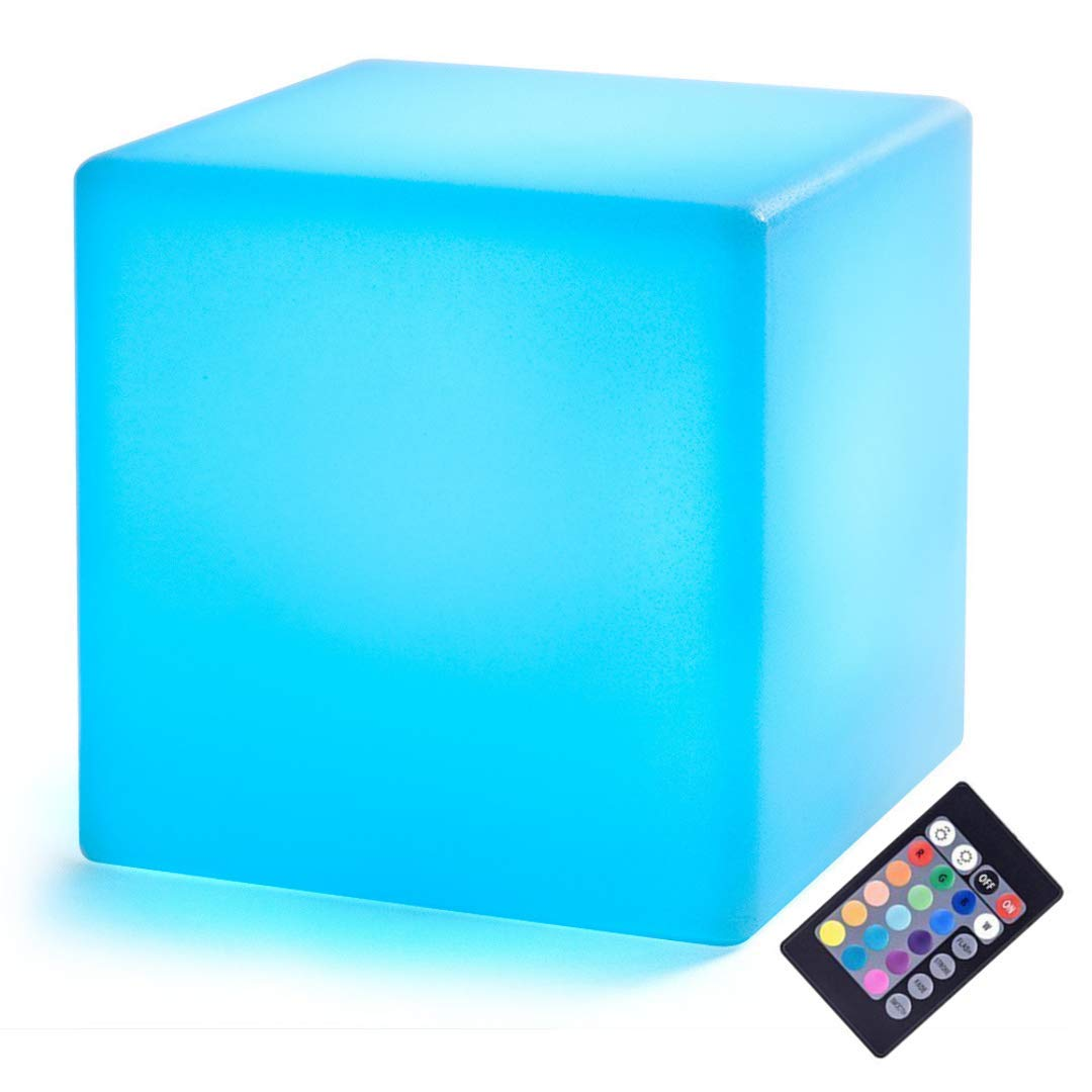 LED Cube: 4-inch LOFTEK Night Light, Rechargeable and Cordless Decorative Light with 16 RGB Colors and Remote Control