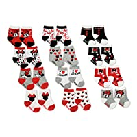 Disney Baby Girls' Minnie Mouse Assorted Color 12 Pair Socks Set, Red, Black,...