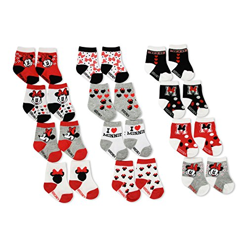 Disney Baby Girls Minnie Mouse Assorted Color Socks Set, 12 Pair,red, black,6-12M
