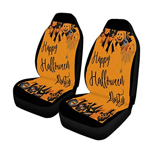 INTERESTPRINT Halloween Wreath Witch with Halloween Set Decoration Car Seat Cover Front Seats Only Full Set of 2, Vehicle Seat Protector Car Mat Covers, Fit Most Vehicle, Cars, Sedan, Truck, SUV, Van ()