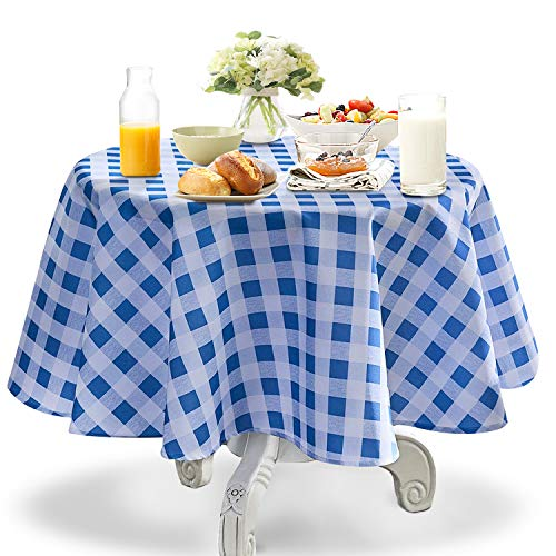 YEMYHOM 100% Polyester Spillproof Tablecloths for Round Tables 60 Inch Indoor Outdoor Camping Picnic Circle Table Cloth (Light Blue and White Checkered)