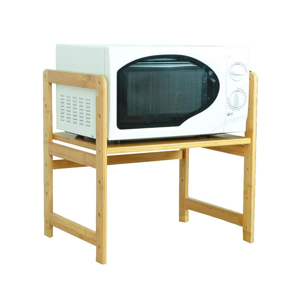 Multifunctional Kitchen Shelf Adjustable 2-Tier Solid Wood with Hook Microwave Oven Rack Oven Bracket Tool Holder Electrical Shelf Single Layer Bamboo (Size:50cm,55cm,59cm,69cm) (Size : 59cm)