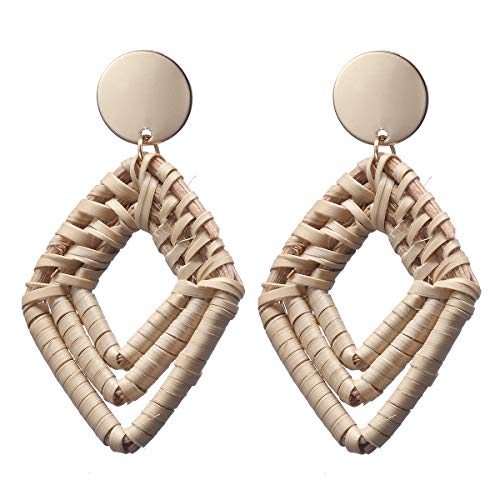 - Pameny Rattan Rhombic Earrings for Women Handmade Straw Wicker Braid Square Drop Dangle Statement Jewelry (Rhombic)