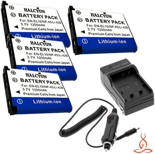 Four Halcyon 1200 mAH Lithium Ion Replacement Batteries and Charger Kit for Casio EX-Z550 Digital Camera and Casio NP-80