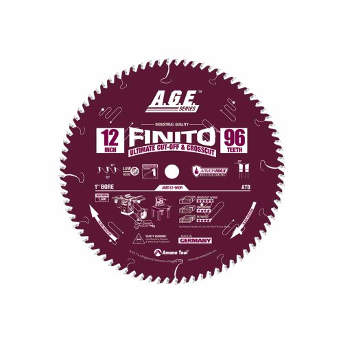 A.G.E. Series by Amana Tool MD12-960R Finito Ultimate Cut-Off Crosscut ArmorMax Non-Stick Coating 12-Inch x 96 Tooth ATB 1-Inch Bore Saw Blade