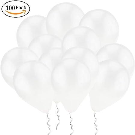 Imagen deQYY 100 Piezas Latex Globos Blancos Decoración para sesión fotográfica/Cumpleaños/Fiesta de Boda/Festival/Evento/Decoraciones de Carnaval /Paquete Blanco